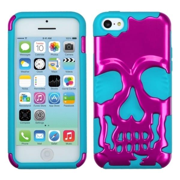 INSTEN Metallic Pink/ Tropical Teal Skullcap Phone Case Cover for Apple iPhone 5C