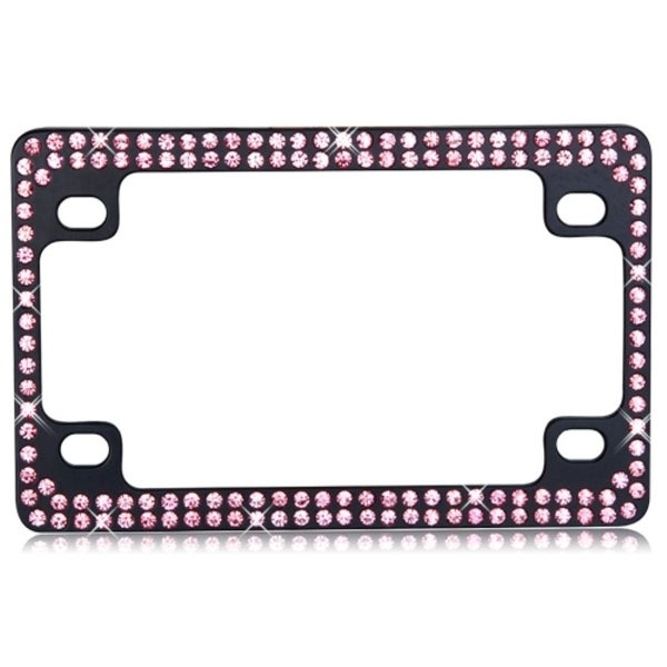INSTEN Double Row Black Metal Motorcycle Frame with Pink Crystals
