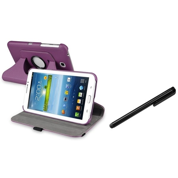 INSTEN Purple Swivel Tablet Case Cover/ Stylus for Samsung Galaxy Tab 3 7.0 P3200