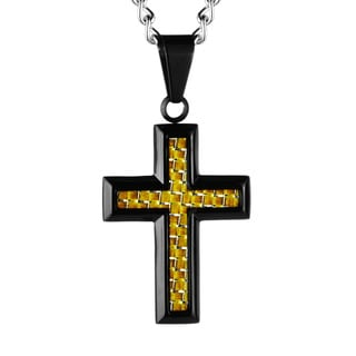 Black-plated Stainless Steel Yellow Carbon Fiber Cross Necklace