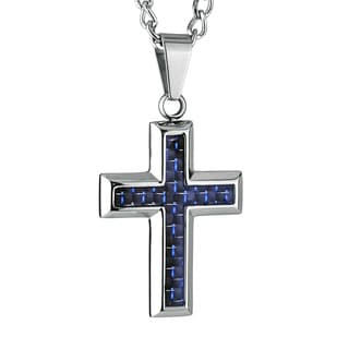 Crucible Stainless Steel Black and Blue Carbon Fiber Cross Necklace