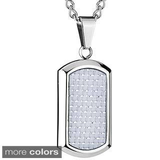 West Coast Jewelry Steel White or Blue Carbon Fiber Dog Tag Necklace