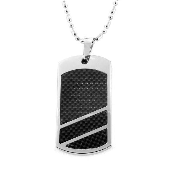 West Coast Jewelry Steel Black Carbon Fiber Dog Tag Necklace
