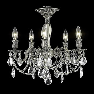 Christopher Knight Home Meilen 5-light Royal Cut Crystal and Pewter Flush Mount