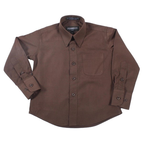 Ferrecci Boys Slim Fit Brown Collared Formal Shirt