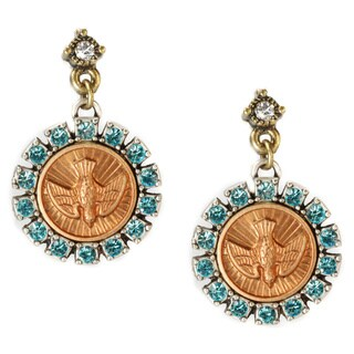 Sweet Romance Bronzetone Bird Spirit Coin Earrings