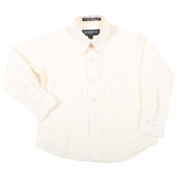Ferrecci Boys Slim Fit Off White Collared Formal Shirt