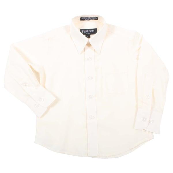 Ferrecci Boys Slim Fit Off White Collared Formal Shirt