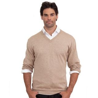 Luigi Baldo Men's Italian Made Cotton and Cashmere V-Neck Sweater