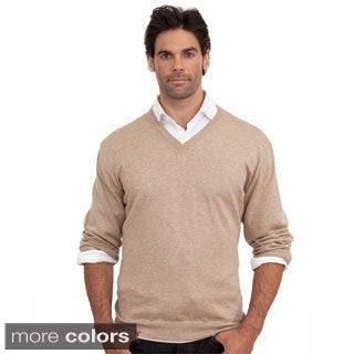 Luigi Baldo Men's Italian Made Cotton and Cashmere V-Neck Sweater