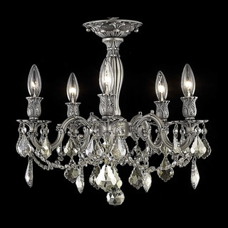 Christopher Knight Home Meilen 5-light Royal Cut Gold Crystal and Pewter Flush Mount