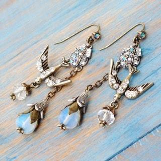 Sweet Romance Two-tone White Crystal Spirit Earrings