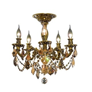 Christopher Knight Home Meilen 5-light Royal Cut Gold Crystal and French Gold Flush Mount