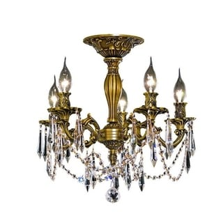 Christopher Knight Home Meilen 5-light Royal Cut Crystal and French Gold Flush Mount