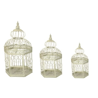 Casa Cortes Vintage Decorative Metal Bird Cages (Set of 3)
