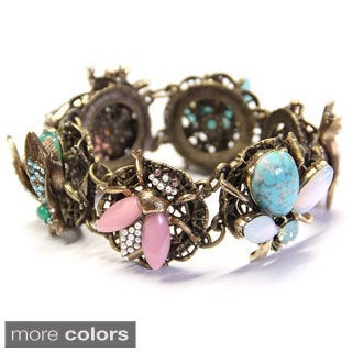 Sweet Romance Bronzetone Jeweled Bees Bracelet