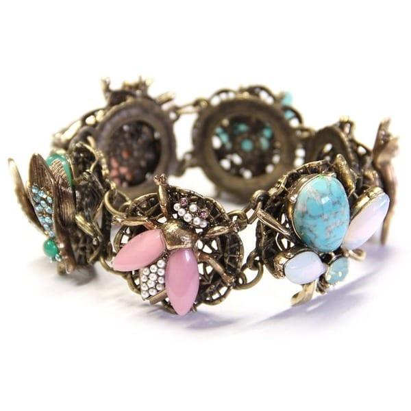 Sweet Romance Aurora Glass and Crystal Jeweled Bees Bracelet