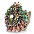 Sweet Romance Bronzetone Vintage Glass Cuff Bracelet