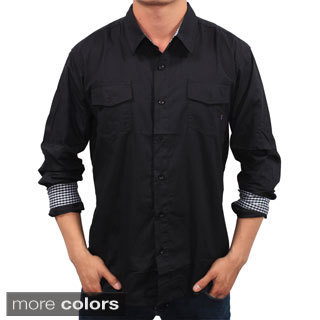 Men's Slim Fit Solid Woven Shirt