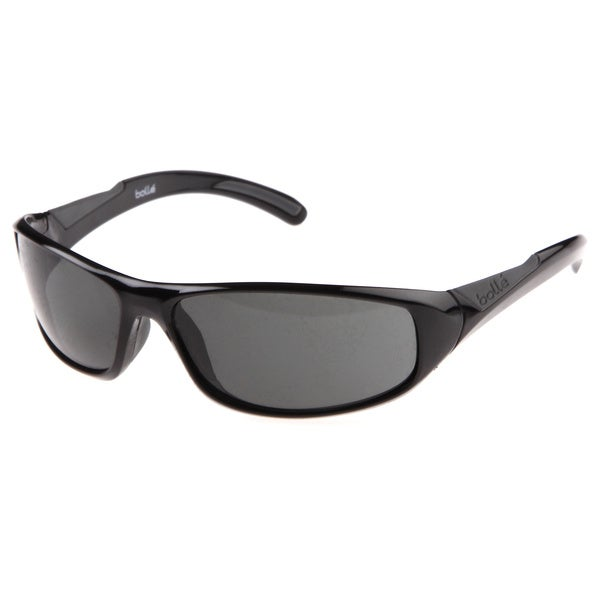 Bolle 'Swift' Shiny Black Wrap Sport Sunglasses