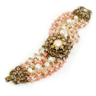 Sweet Romance Bronzetone Faux Pearl and Coral Bead Bracelet