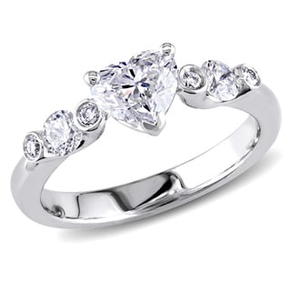 Miadora 18k White Gold 1 1/6ct TDW Heart Diamond Ring (G-H, SI1-SI2)