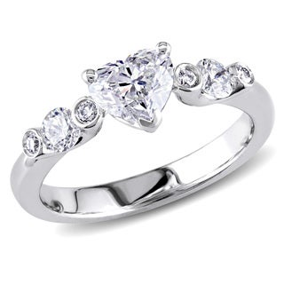 Shira Design 18k White Gold 1 1/6ct TDW Heart Diamond Ring (G-H, SI1-SI2)