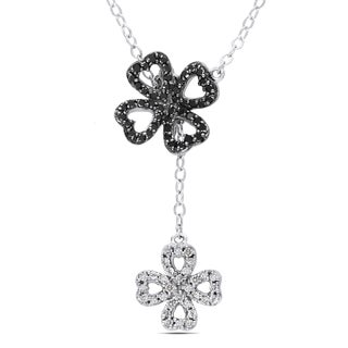 Miadora Sterling Silver 1/4ct TDW Black and White Diamond Clover Leaf Necklace