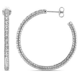 Miadora Sterling Silver 1/4ct TDW Diamond Hoop Earrings (H-I, I2-I3)