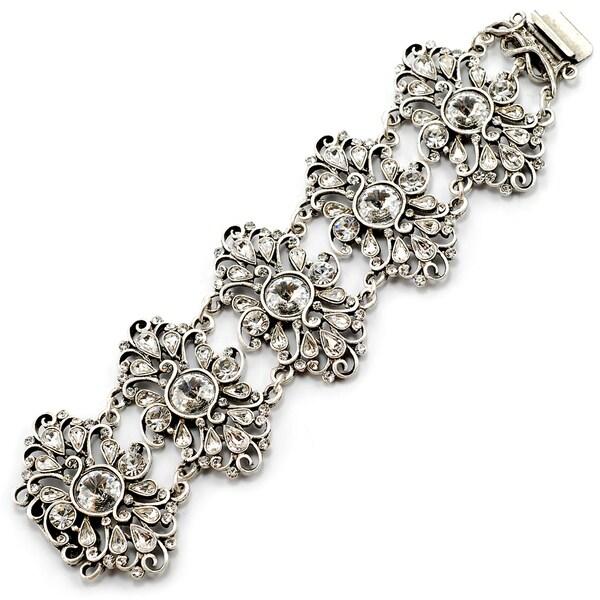 Sweet Romance Silvertone Gypsy Lace Crystal Bracelet