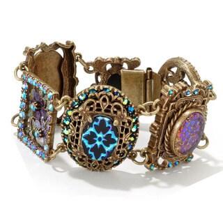 Sweet Romance Bronzetone Vintage Peacock Iris Glass Bracelet