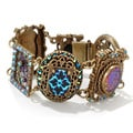 Sweet Romance Vintage Peacock Glass Iridescent Aurora Blue Retro Statement Bracelet