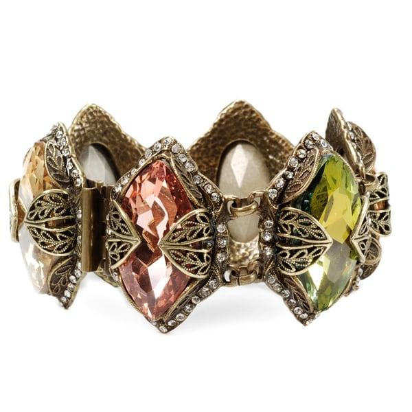 Sweet Romance Bronzetone Jumbo Navette Crystal Bracelet