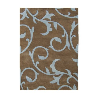 Alliyah Handmade Sabrina Brown Wool Rug (9' x 12')