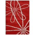 Handmade Alliyah Red Floral Wool Rug (9' x 12')