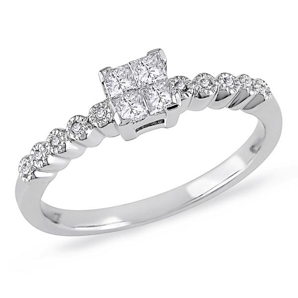 Miadora 14k Gold 1/4ct TDW Round Bezel Side Stones Diamond Ring (G-H, I1-I2)