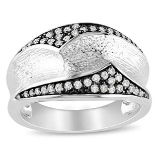 Miadora Sterling Silver 1/4ct TDW White Diamond Ring (H-I, I2-I3)