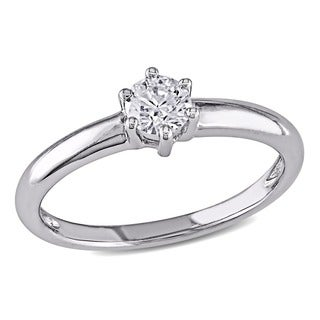 Miadora 14k White Gold 1/4ct TDW Diamond Solitaire Engagement Ring (G-H, I1-I2)