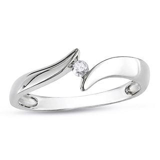 Miadora 14k White Gold Solitaire Round Diamond Promise Ring