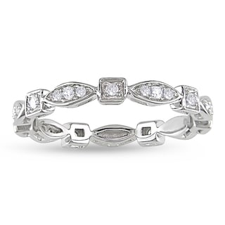 Miadora 14k White Gold 1/5ct TDW Diamond Eternity Ring (G-H, I1-I2)