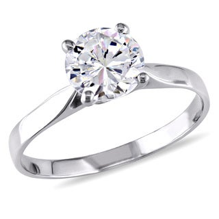 Miadora 10k White Gold Cubic Zirconia Solitaire Ring