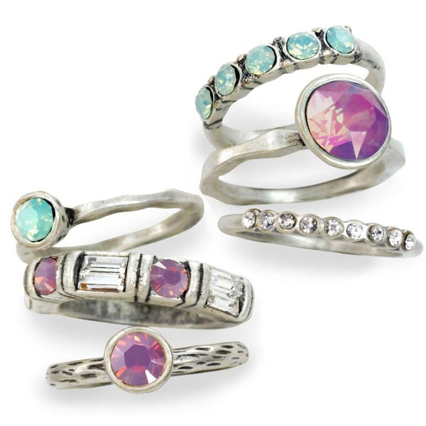 Sweet Romance Crystal Stack Rings (Set of 6)