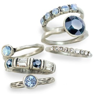 Sweet Romance Pewter Crystal 6-piece Stackable Ring Set