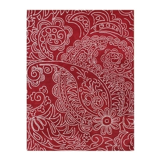 Handmade Alliyah Red Paisley Wool Rug (9' x 12')
