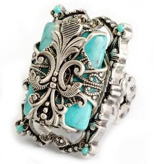 Sweet Romance Silvertone Turquoise Magnesite Fleur de Lis Ring
