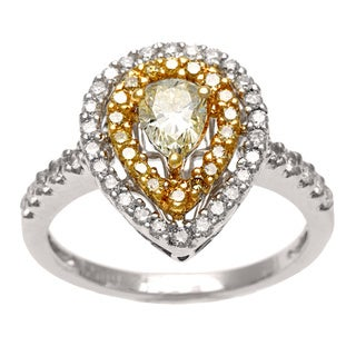 18k Two-tone Gold 1ct TDW Yellow and White Diamond Halo Ring (H-I, I1-I2)