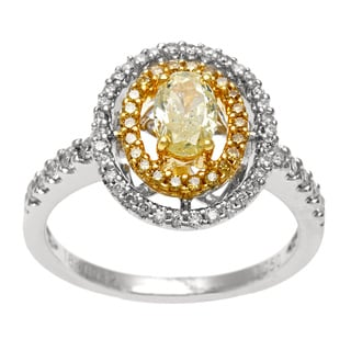 18k Two-tone Gold 7/8ct TDW Yellow and White Diamond Halo Ring (H-I, I2-I3)