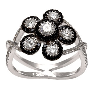 Kabella Luxe 18k Gold 1 1/4ct TDW Black and White Diamond Flower Ring (G-H, SI1-SI2)