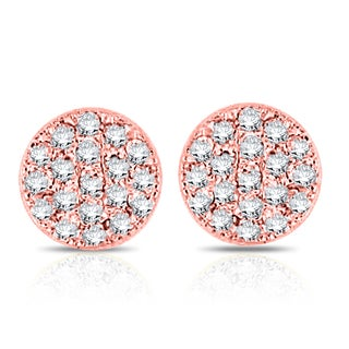 14k Rose Gold 1/10ct TDW Diamond Round Stud Earrings (H-I, I1)