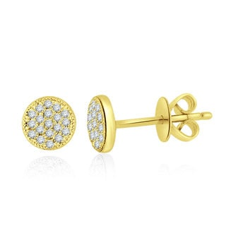 14k Yellow Gold 1/10ct TDW Diamond Round Stud Earrings (H-I, I1)
